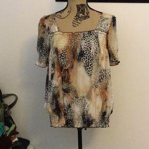 Brown and black animal print blouse
